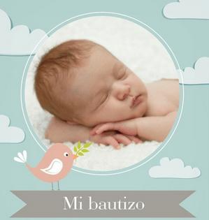 etiqueta para bautizo con fotografía de bebé