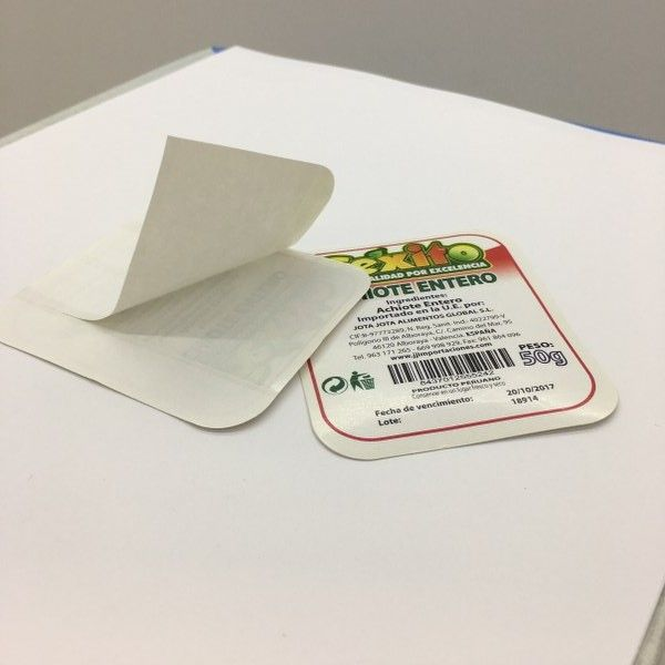 Etiqueta adhesiva alimentaria con esquinas redondeadas